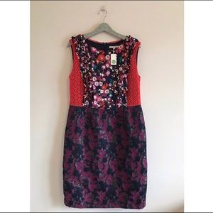 Boden NWT Mixed Print Floral Lace Trim Dress